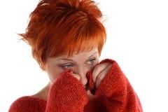 头发的红色哀伤的妇女 图库摄影