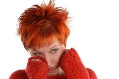 头发的红色哀伤的妇女 免版税库存图片