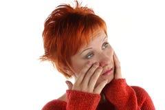 头发的红色哀伤的妇女 库存照片