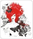 头发的红色妇女 免版税图库摄影