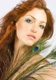 头发的红色妇女 库存照片