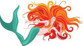 头发的美人鱼红色 免版税图库摄影