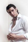 头发的英俊的长的人纵向 免版税库存照片