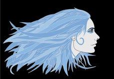 头发蓝色的女孩 免版税图库摄影
