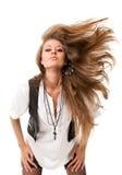 头发被伸直的妇女 免版税库存图片