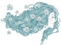 头发长的纵向俏丽的妇女年轻人 向量例证