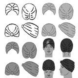 头巾或浴帽模板和人朝向 库存图片