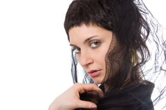 头巾的秀丽东部妇女 免版税库存图片