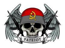 头戴安哥拉旗子盔甲的头骨军队 库存例证