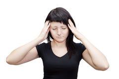 头疼妇女。 遭受耳鸣。 图库摄影