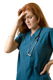 头疼护士 库存照片
