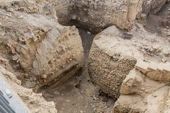 头等计划新石器时代的塔从考古学站点的九米告诉ES苏丹 巴勒斯坦人耶利哥 免版税库存照片