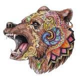 头触怒与装饰装饰品的熊,水彩图画, 免版税库存图片