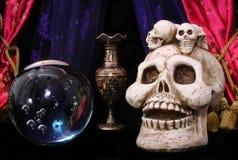 头骨和水晶球 免版税库存图片