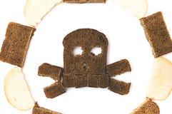 头骨和骨头由切的面包制成 库存图片