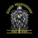 头骨摩托车赛跑的手图画传染媒介 向量例证