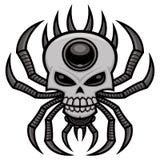 头骨蜘蛛-与头骨设计的天体织布工蜘蛛 库存例证