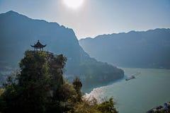 夷陵,湖北长江三峡Dengying空白在小亭子 图库摄影
