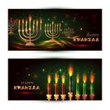 夸尼扎的水平的代表七位原则或Nguzo萨巴的横幅与传统上色和蜡烛 库存例证