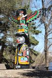 夸扣特尔人标识杆Wascana公园雷日纳加拿大 库存照片