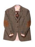夹克,衬衣,领带在空白背景。 免版税库存图片