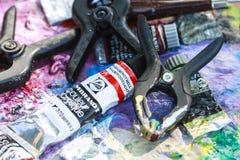 夹子和油漆 库存图片