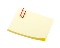 夹子查出的附注贴纸空白黄色 免版税库存图片