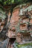 夹江一千菩萨峭壁在四川,瓷 免版税库存照片
