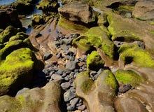 奇怪形状岩石海岸  图库摄影