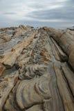 奇怪形状的岩石公园叫Tatsukushi 免版税库存照片