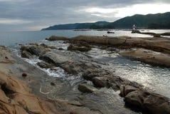 奇怪形状的岩石公园叫Tatsukushi 库存图片