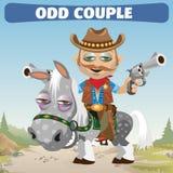 奇怪的夫妇牛仔车手和马 免版税库存照片