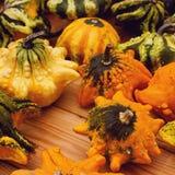 奇怪的装饰Haloween南瓜Variaty在季节性农夫` s市场上的 免版税库存照片