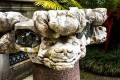 奇怪的雕象在Monte的一个美丽的庭院里在丰沙尔马德拉岛上 免版税图库摄影