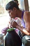 奇恩角部落人,缅甸 库存照片
