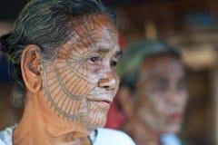 奇恩角部落妇女,缅甸 库存图片