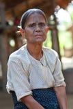 奇恩角部落被刺字的妇女,缅甸 免版税库存图片