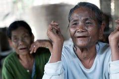 奇恩角部落tatoed妇女,缅甸 免版税库存照片