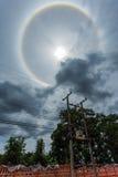奇迹圈子在太阳附近盘旋下午在泰国 免版税库存照片