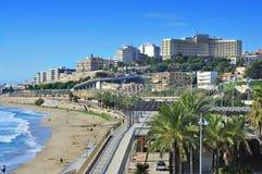 奇迹海滩在塔拉贡纳,西班牙 免版税库存照片