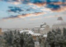 奇迹鸟瞰图正方形在日落的与雪,比萨- Tusca 库存图片