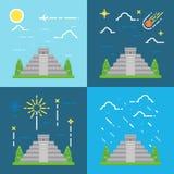 奇琴伊察Yuacatan墨西哥平的设计4样式  向量例证