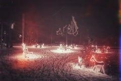 奈达市在立陶宛,在圣诞节的期间 免版税库存照片
