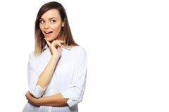 兴奋惊奇的妇女 免版税库存图片