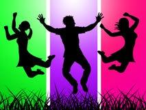 兴奋跳跃表明绿草和激动 库存例证