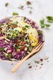奎奴亚藜,红叶卷心菜,杏仁,苹果计算机夏天沙拉用姜黄调味汁 图库摄影