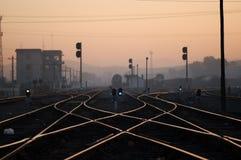 契合黎明铁路运输 库存图片