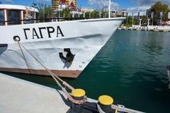 索契,俄罗斯:29 09 2014 - 在索契海por的游艇加格拉休息 免版税库存图片
