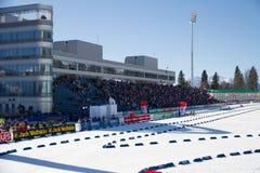 索契,俄罗斯- 2013年3月7日:联合的滑雪 库存照片