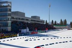索契,俄罗斯- 2013年3月7日:联合的滑雪 图库摄影